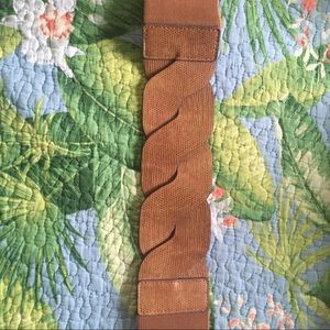 Wide Woven Faux Leather stretchy Belt BCBG